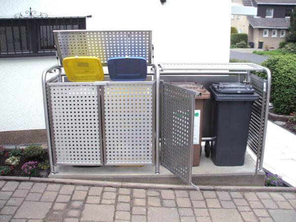 Mülltonnenboxen doppelt in Edelstahldesign