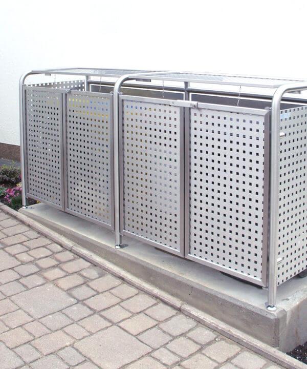 Mülltonnenboxen doppelt aus wetterfestem Edelstahl