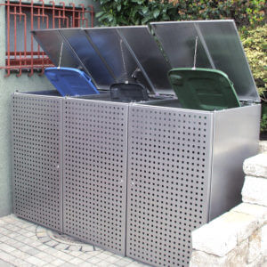 Mülltonnenbox dreifach aus Edelstahl