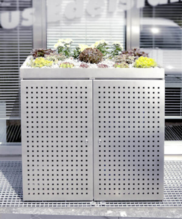 Mülltonnenbox mit Pflanzenschale Edelstahl