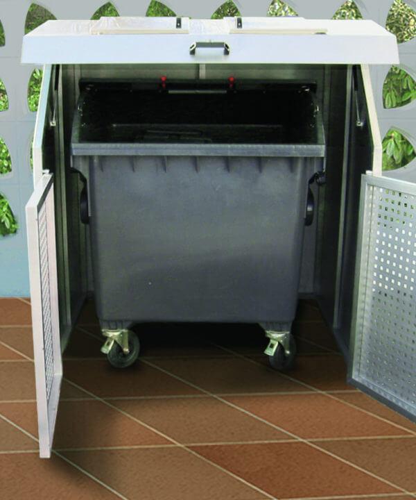 Große Mülltonnenbox Edelstahl Variobox